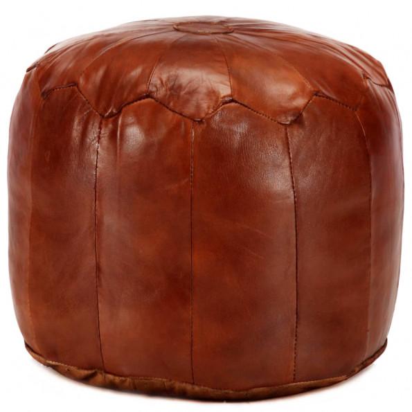 Puf 40 x 35 cm ægte gedeskind gyldenbrun