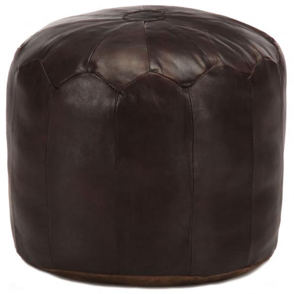 Puf 40 x 35 cm ægte gedeskind mørkebrun
