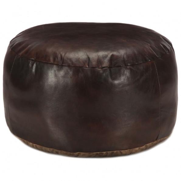 Puf 60 x 30 cm ægte gedeskind mørkebrun