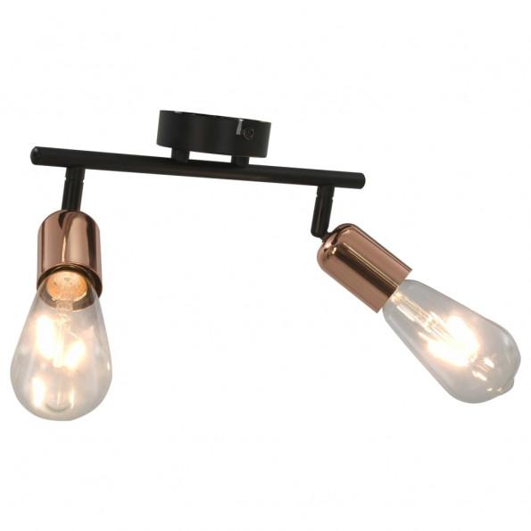 2-vejs spotlampe 2 W E27 sort og kobber
