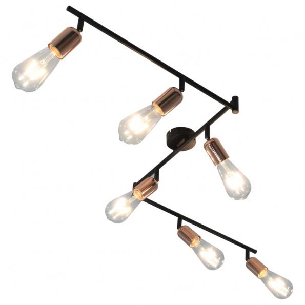 6-vejs spotlampe med glødepærer 2 W 30 cm E27 sort og kobber