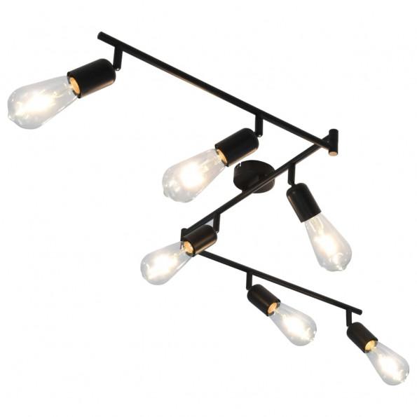 6-vejs spotlampe med glødepærer 2 W 30 cm E27 sort