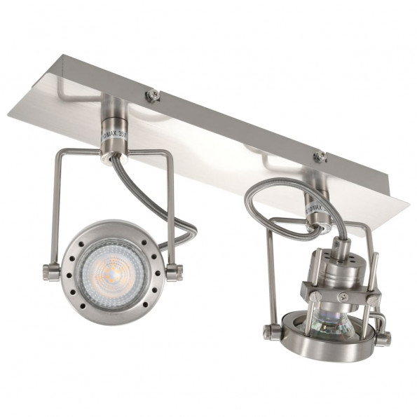 2-vejs spotlampe GU10 sølvfarvet