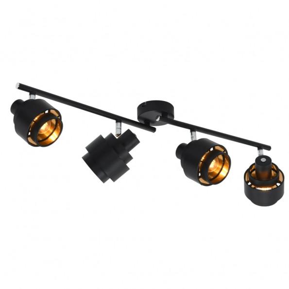4-vejs spotlampe E14 sort