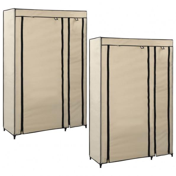 Foldbare klædeskabe 2 stk. 110 x 45 x 175 cm stof cremefarvet