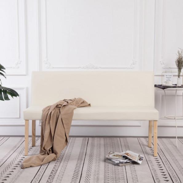 Bænk i kunstlæder 139,5 cm cremefarvet