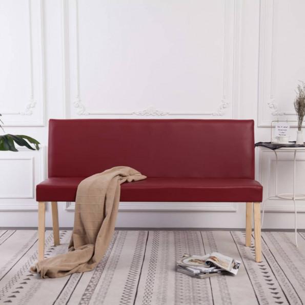 Bænk i kunstlæder 139,5 cm rødvinsfarvet