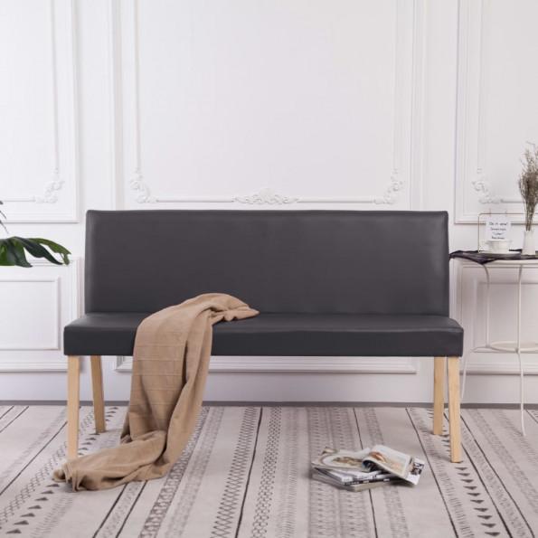 Bænk i kunstlæder 139,5 cm grå