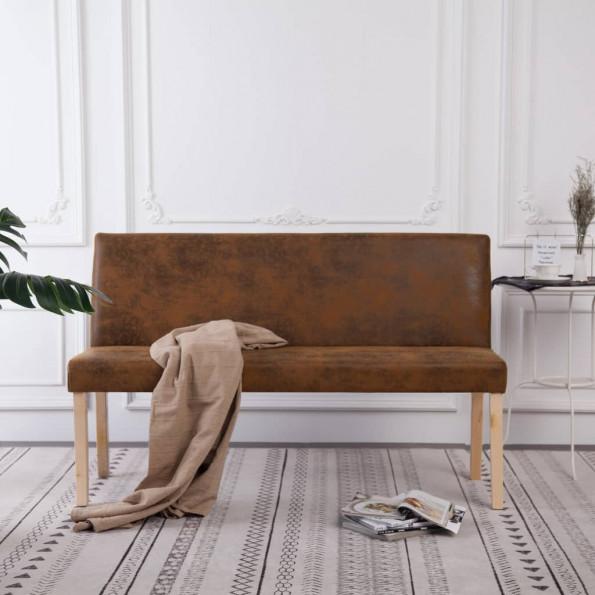 Bænk i imiteret ruskind 139,5 cm brun