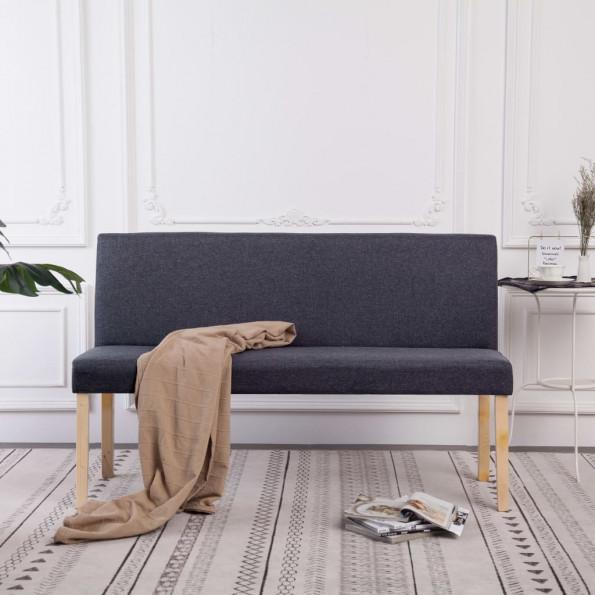 Bænk 139,5 cm polyester mørkegrå