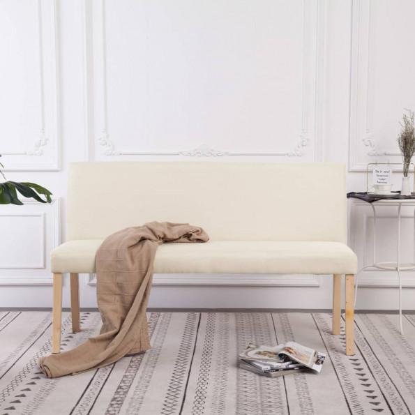Bænk 139,5 cm polyester cremefarvet