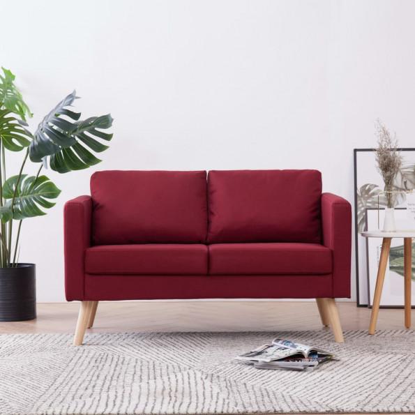 2-personers sofa i stof rødvinsfarvet
