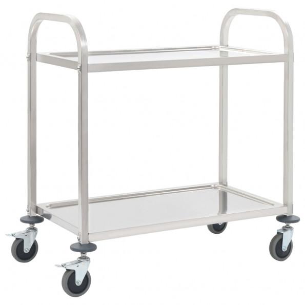 Køkkenvogn med 2 hylder 87 x 45 x 83,5 cm rustfrit stål