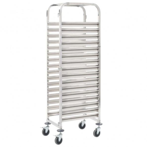 Køkkenvogn til 16 bakker 65,5 x 48,5 x 165 cm rustfrit stål