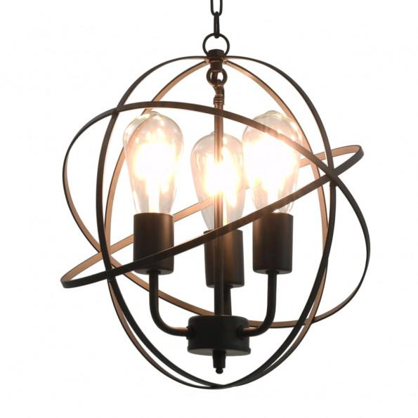 Hængelampe kugleformet 3 x E27-pærer sort