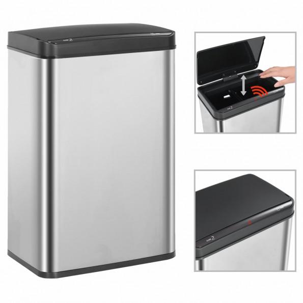Affaldsspand med sensor sølvfarvet og sort rustfrit stål 60 l
