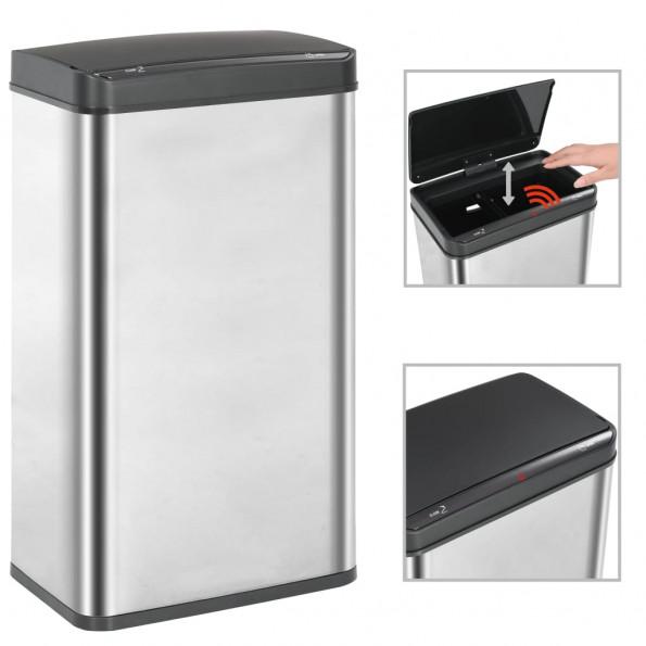 Affaldsspand med sensor sølvfarvet og sort rustfrit stål 70 l