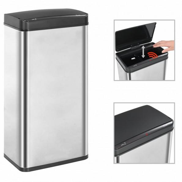 Affaldsspand med sensor sølvfarvet og sort rustfrit stål 80 l