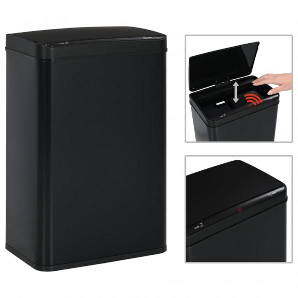 Affaldsspand med sensor sort stål 60 L