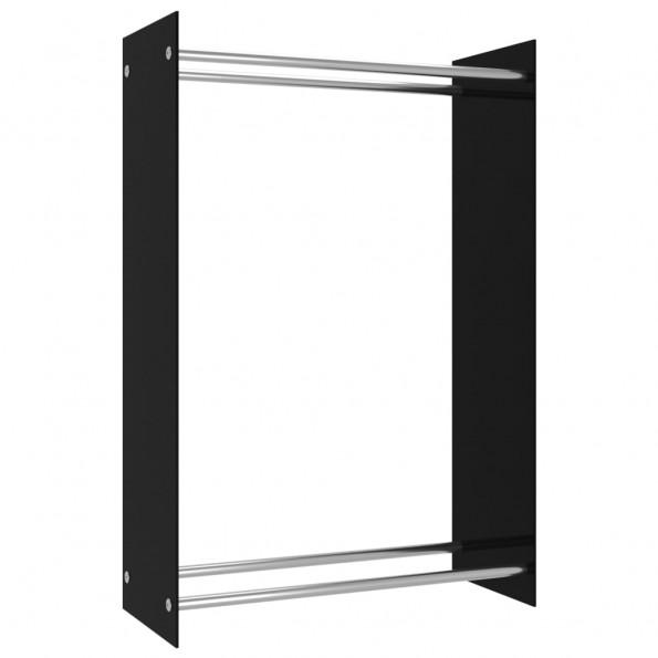 Brændestativ 80x35x120 cm glas sort