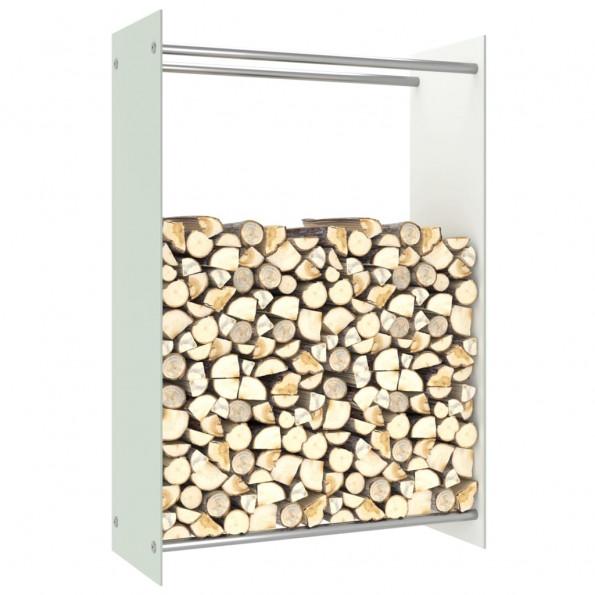 Brændestativ 80x35x120 cm glas hvid