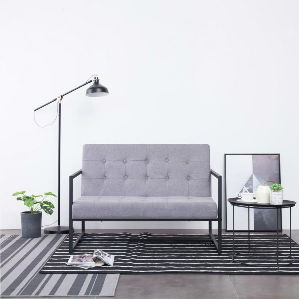 2-personers sofa med armlæn stål og stof lysegrå