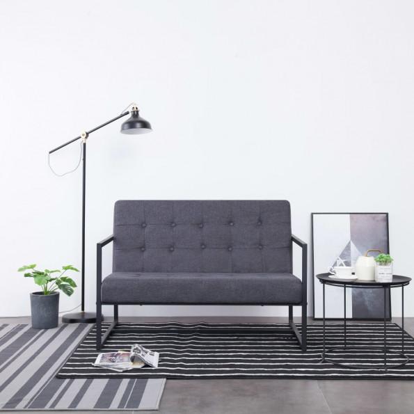 2-personers sofa med armlæn stål og stof mørkegrå