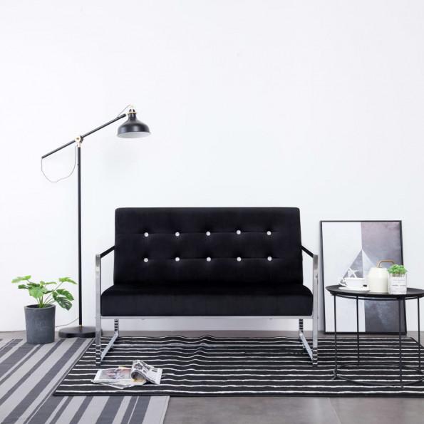 2-personers sofa med armlæn krom og fløjl sort