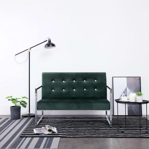 2-personers sofa med armlæn krom og fløjl mørkegrøn