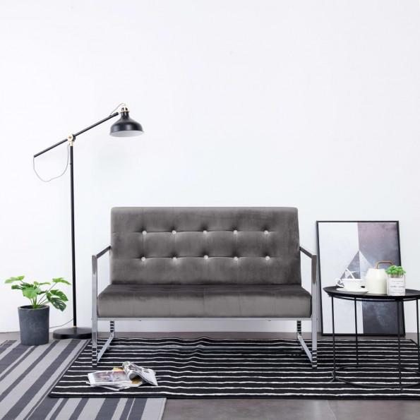 2-personers sofa med armlæn krom og fløjl mørkegrå