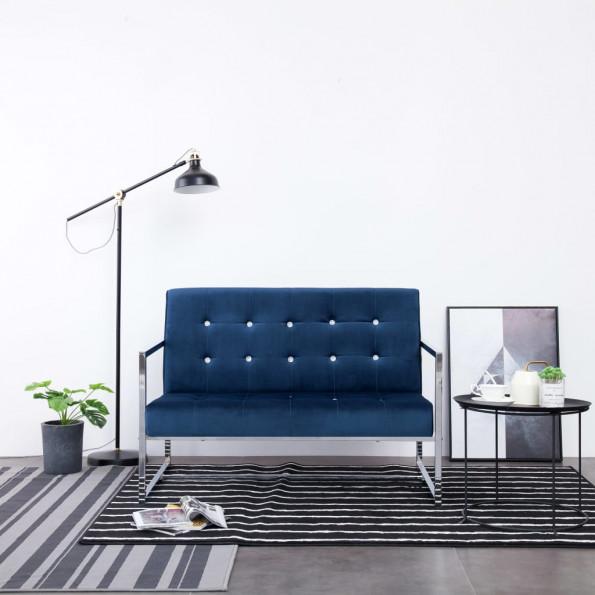 2-personers sofa med armlæn krom og fløjl blå