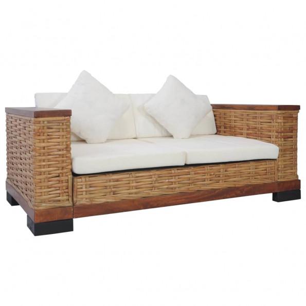 2-personers sofa med hynder naturlig rattan brun
