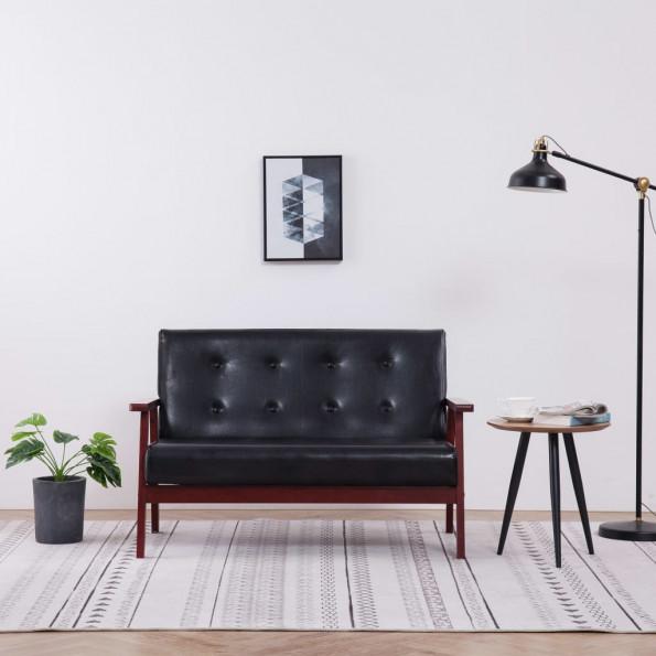 2-personers sofa kunstlæder sort