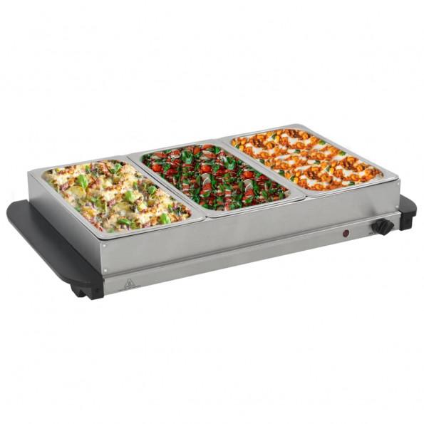 Buffetvarmer rustfrit stål 300 W 3 x 2,5 l