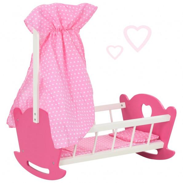Dukkeseng med baldakin 50 x 34 x 60 cm MDF pink