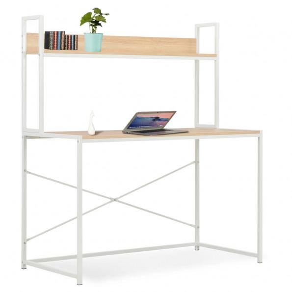 Computerbord 120 x 60 x 138 cm hvid og egetræsfarve