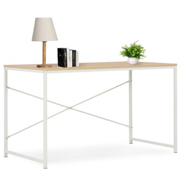 Computerbord 120 x 60 x 70 cm hvid og egetræsfarve