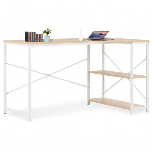 Computerbord 120 x 72 x 70 cm hvid og egetræsfarvet