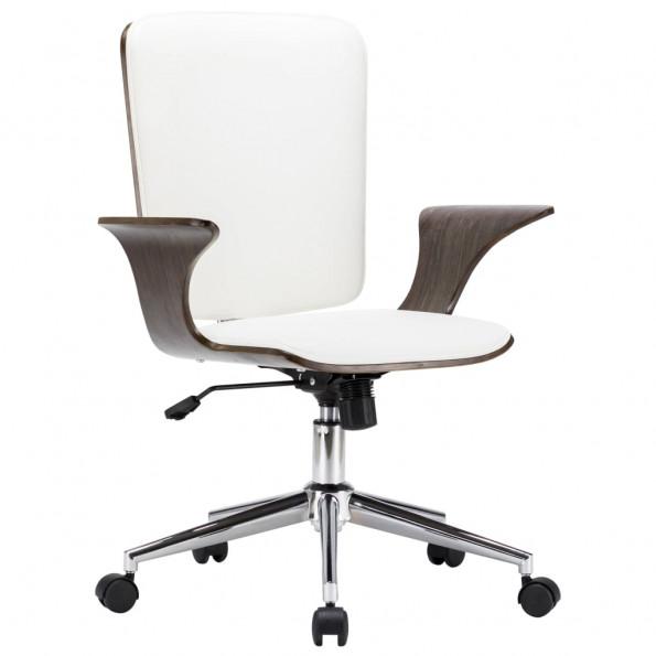 Drejelig kontorstol kunstlæder og bøjet træ hvid