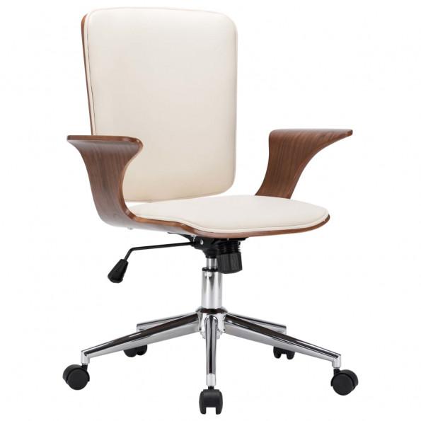 Drejelig kontorstol kunstlæder og bøjet træ cremefarvet