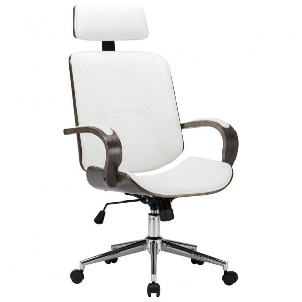 Drejelig kontorstol med nakkestøtte kunstlæder bøjet træ hvid