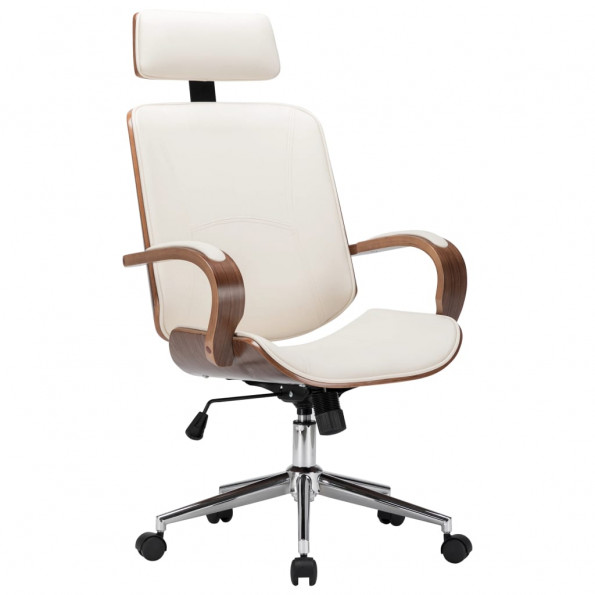 Drejelig kontorstol med nakkestøtte kunstlæder bøjet træ creme