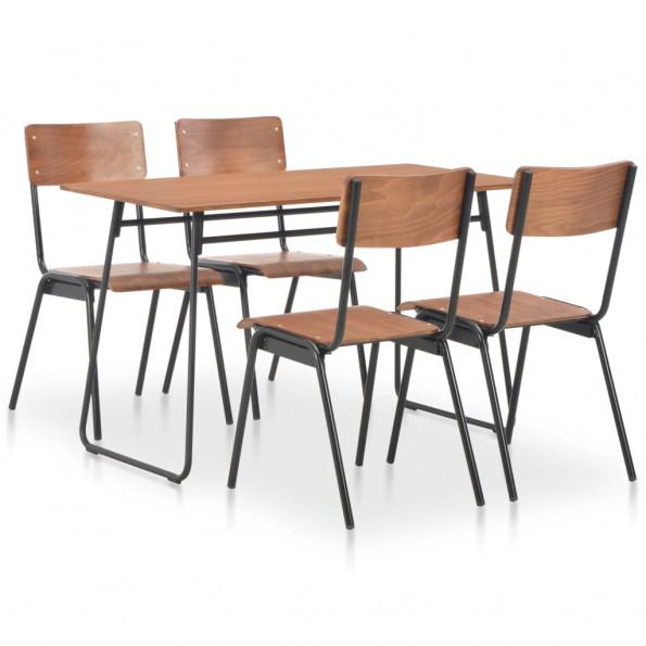 5 dele spisebordssæt massivt krydsfiner stål brun