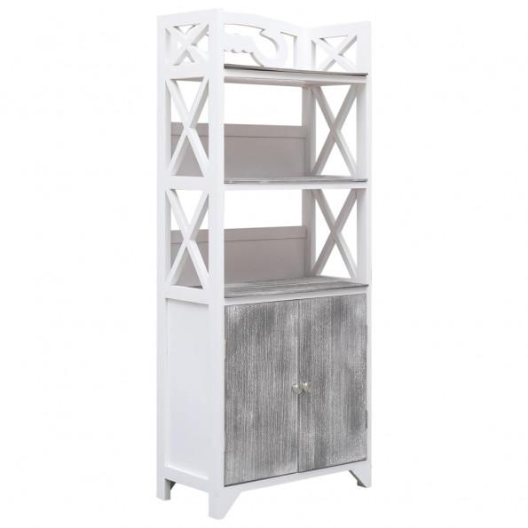 Badeværelsesskab 46 x 24 x 116 cm kejsertræ hvid og grå