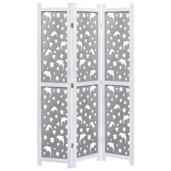 3-panels rumdeler 105 x 165 cm massivt træ grå