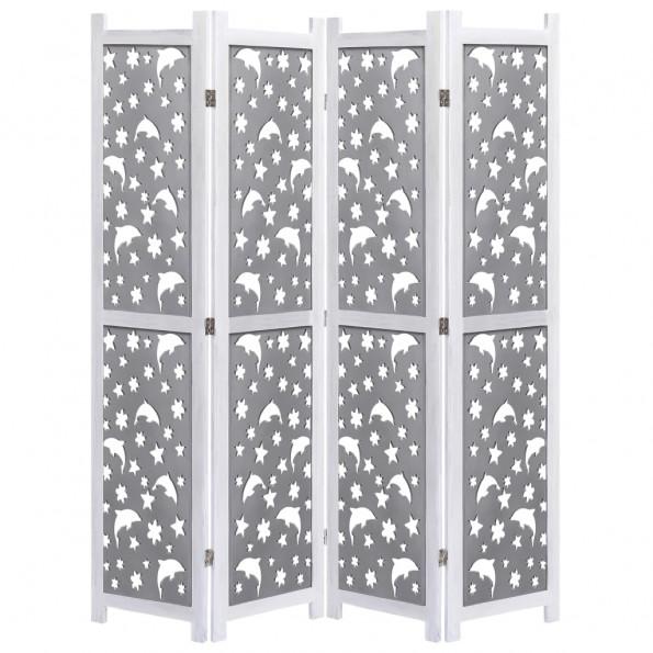 4-panels rumdeler 140 x 165 cm massivt træ grå