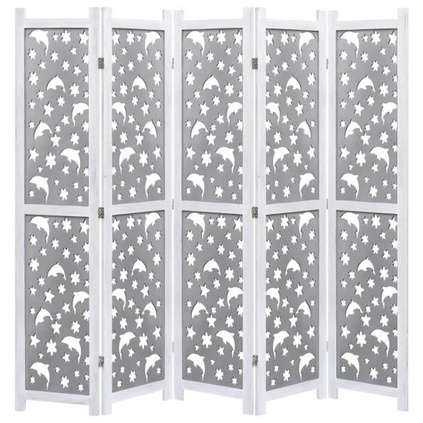 5-panels rumdeler 175 x 165 cm massivt træ grå