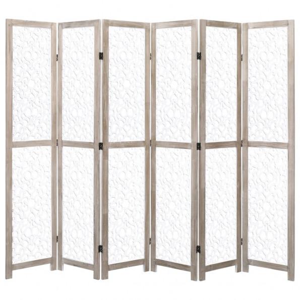 6-panels rumdeler 210 x 165 cm massivt træ hvid