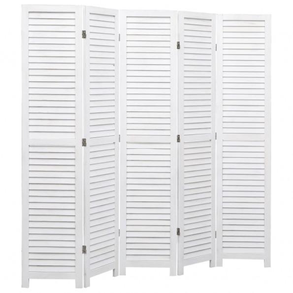 5-panels rumdeler 175 x 165 cm træ hvid
