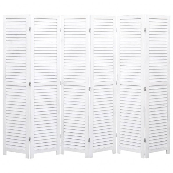 6-panels rumdeler 210 x 165 cm træ hvid